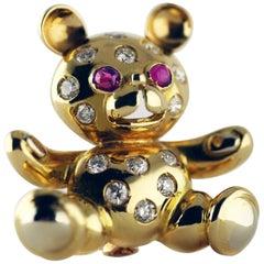 Gold Ruby Diamond Teddy Bear Brooch, circa 1960