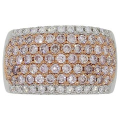Pink and White Round Brilliant Diamond Wide Band