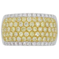 Round Brilliant Fancy Yellow Diamond Wide Ring