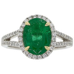 GIA Certified 2.47 Carat Oval Emerald and Round Brilliant Diamond Ring