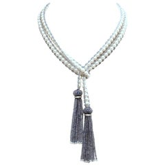Faceted Iolite, Diamond & Pearl Lariat with Tassels by Deborah Lockhart Phillips