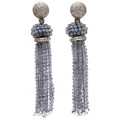 Diamond, 18 Karat White Gold and Iolite Tassel Earrings