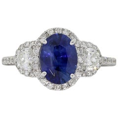 1.95 Carat Oval Sapphire and Diamond Ring