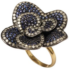 Flower Ring of Pave`-Set Blue Sapphires and Diamonds, Gold Band
