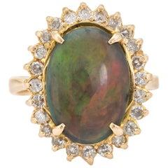 Vintage Natural Black Opal Diamond Ring 18 Karat Yellow Gold Cocktail Statement