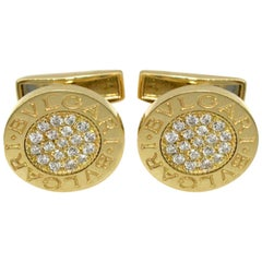 Bulgari Diamond Gold Cufflinks
