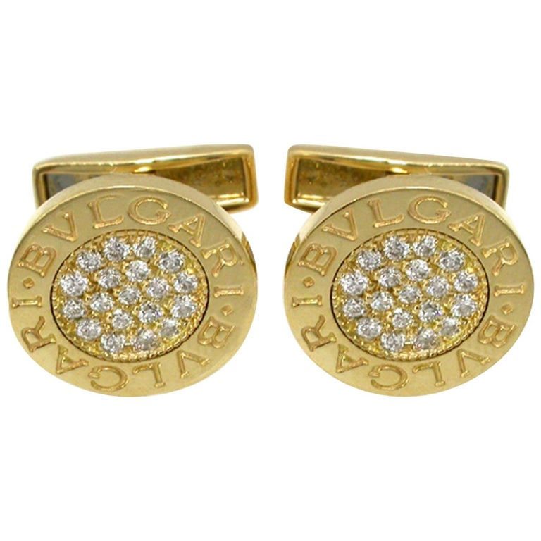 Bulgari Diamond Gold Cufflinks For Sale