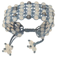Woven Blue Sapphire and Chalcedony Bracelet