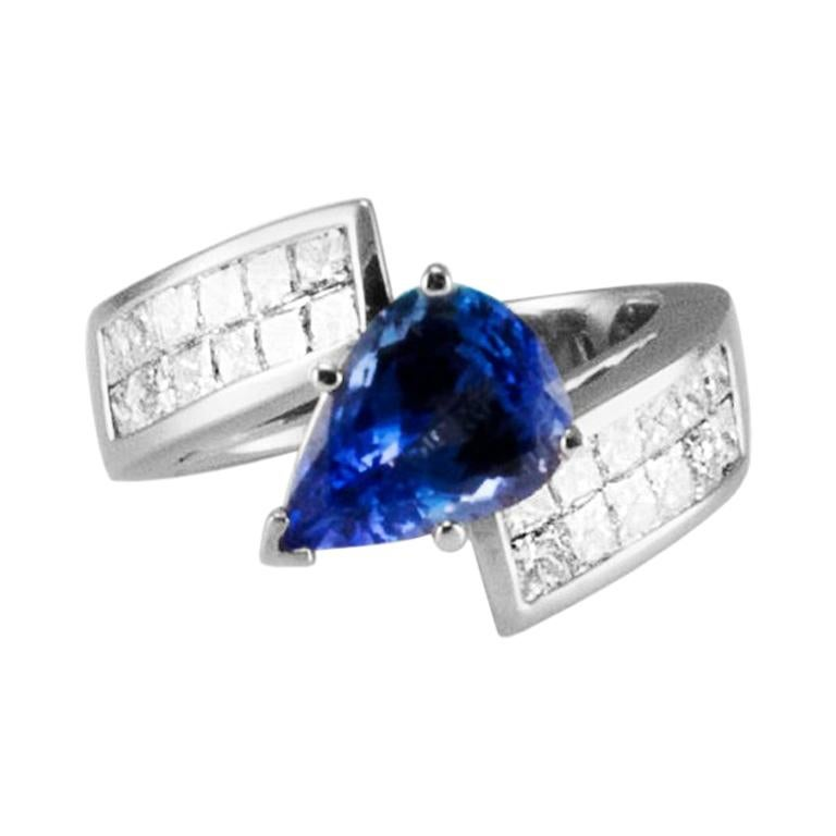 3.00 Carat Pear Shape Tanzanite and Princess Cut Diamond Cocktail Ring