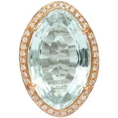 Oval Aquamarine Hand-Hammered Gold Ring