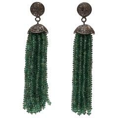 Diamond and Emerald Tassel Earrings
