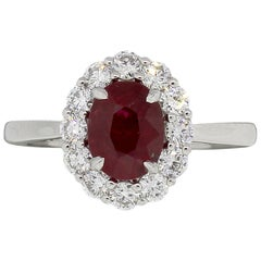 GIA Certified 1.82 Carat Oval Shape Ruby and Diamond Ring