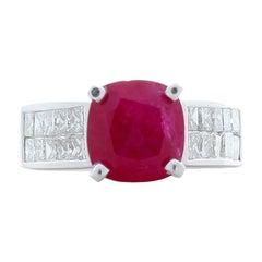 3.17 Carat Cushion Cut Ruby and Princess Cut Diamond Cocktail Ring