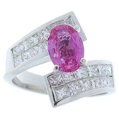 1.90 Carat Oval Pink Sapphire and Princess Cut Diamond Platinum Cocktail Ring