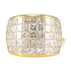 8.72 Carat Total Invisible Set Princess Cut Diamond Yellow Gold Cocktail Ring
