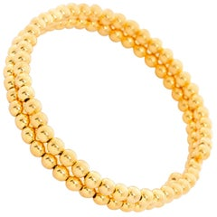 14 Karat Yellow Gold Beaded Double Strand Wrap Bracelet