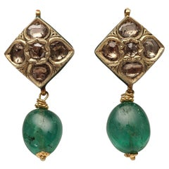 Mid-1900s 22K Gold, Diamond and Emerald Earrings with Indian Kundan Enamel Work