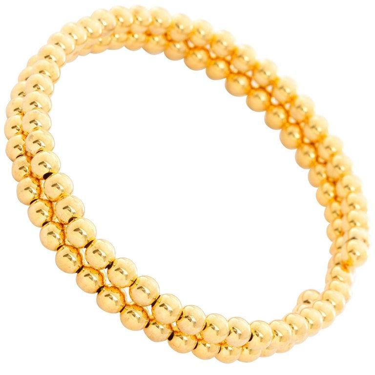14 Karat Yellow Gold Beaded Double Strand Wrap Bracelet For Sale