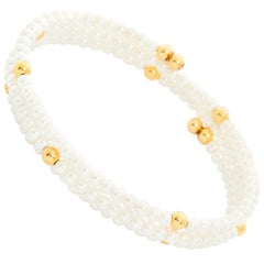 White Pearl Glass Bead Bracelet