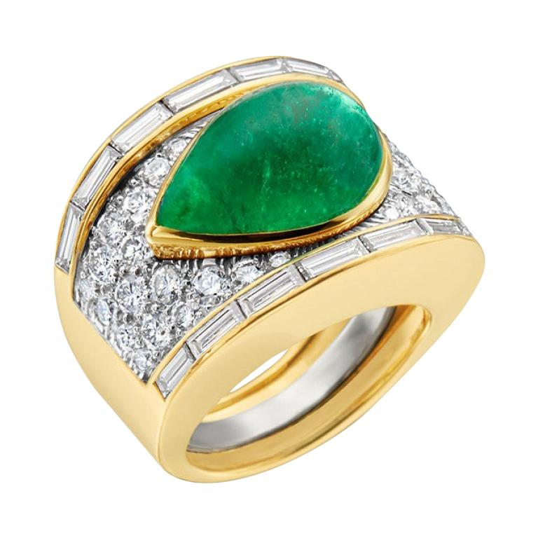 David Webb 18 Karat Gold and Platinum Pear Cabochon Emerald with Diamonds Ring For Sale