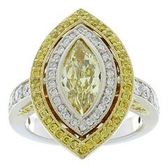 1.04 Carat Fancy Intense Yellow Marquise Diamond Two-Tone Cocktail Ring