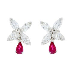0.59 Carat Pear Shape Ruby and 1.21 Carat Marquise Diamond White Gold Earrings