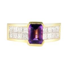 1.31 Carat Total Emerald Cut Amethyst and Princess Cut Diamond Cocktail Ring