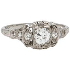 Vintage Art Deco Platinum Engagement Ring 0.36 Carat OEC G-SI1, circa 1930s