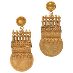 22 Karat Gold British Medals Dated 1910, Converted to Earrings
