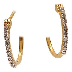 Petite Diamond and 18 Karat Hoop Earrings