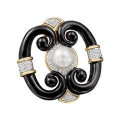 David Webb 18 Karat Gold and Platinum South Sea Pearl, Black Enamel, Diamond Pin