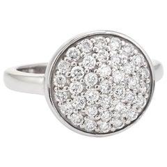 Estate Round Pave Diamond Ring 14 Karat White Gold Vintage Cocktail Statement