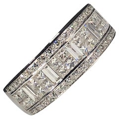 White Diamond Wedding Eternity Band 18k Gold Round, Princess, Baguette Cut 1.50