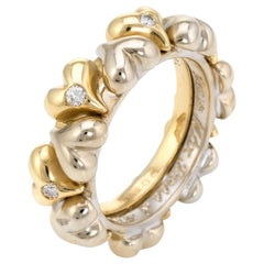 Vintage Puffed Hearts Eternity Ring Diamond 18 Karat Two-Tone Gold Jewelry