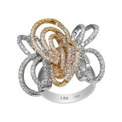 Butterfly Style Diamond Ring in 18 Karat Two-Tone White Gold and Yellow Gold