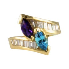 1.40 Carat Total Marquise Amethyst Blue Topaz and Baguette Diamond Cocktail Ring