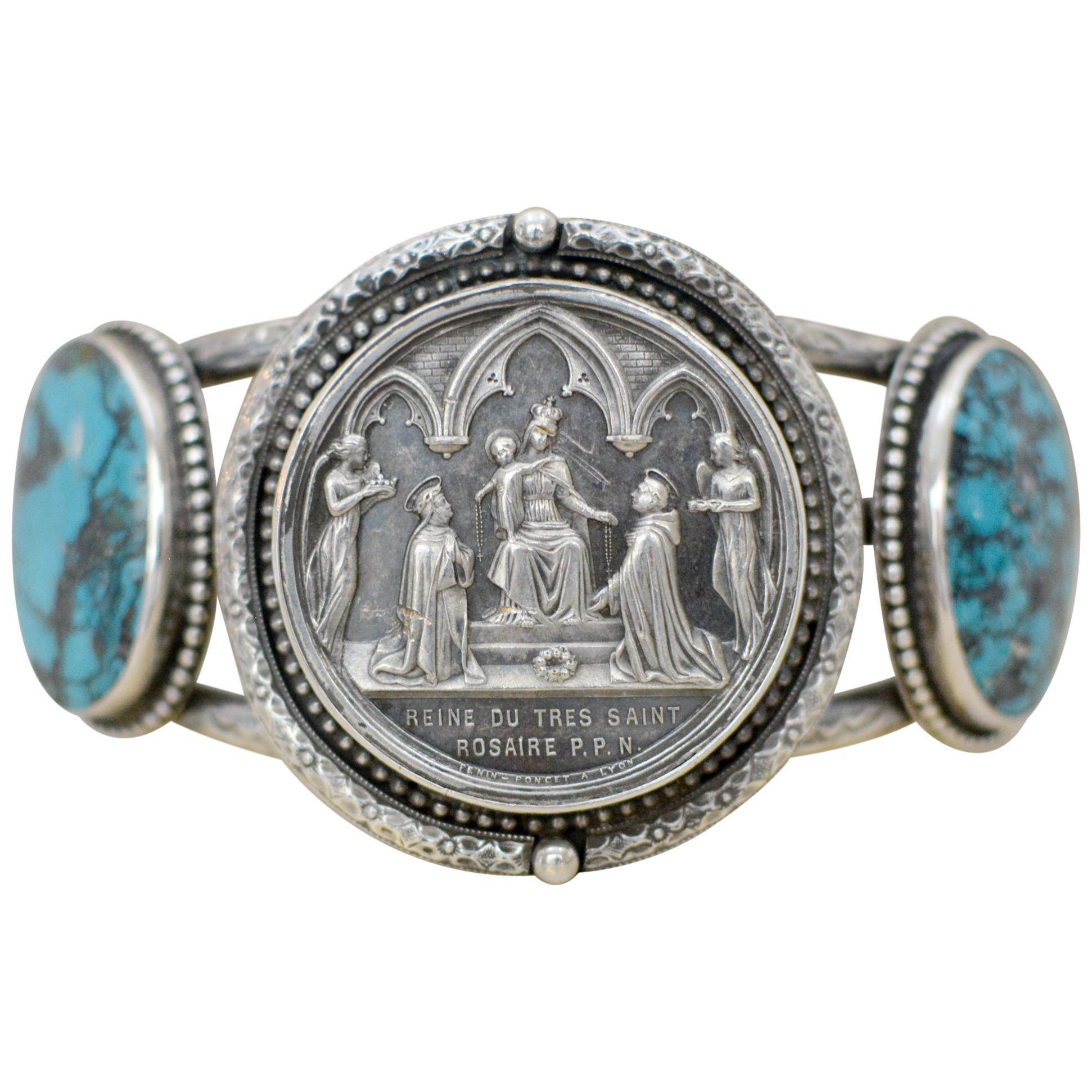Jill Garber Antique French Wedding Medal with Turquoise Cuff Bracelet