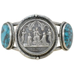 Jill Garber Antique French Wedding Medal Modern Turquoise Cuff