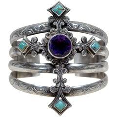 Jill Garber Art Nouveau Figural Cross Amethyst Turquoise Modern Cuff Bracelet