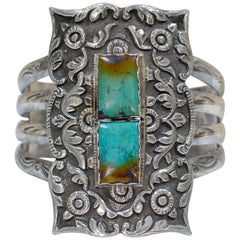 Jill Garber French Rococo Cuff with Figural Chinoiserie Relief and Turquoise