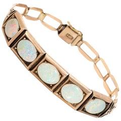 Antique Natural Opal Bracelet Art Deco 14 Karat Rose Gold Vintage Fine Jewelry