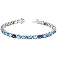 Aquamarine and Blue Sapphire Bracelet