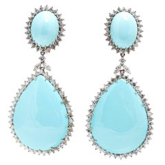 Turquoise Diamond Ear-Pendants