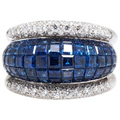Invisible Set Sapphire Diamond Ring