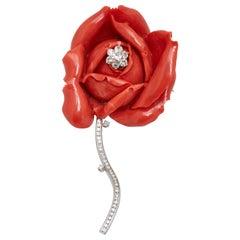 Coral Diamond Rose Petal Brooch