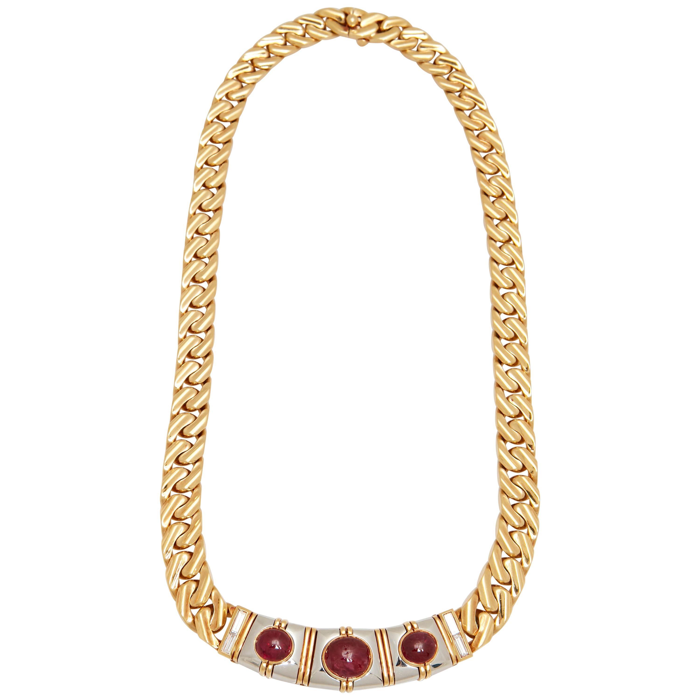 Bulgari Ruby Diamond Gold Chain Necklace