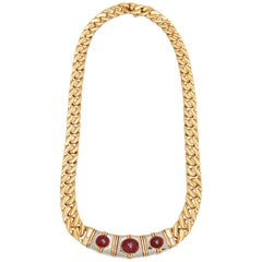 Bulgari Ruby Diamond Gold Chain Necklace