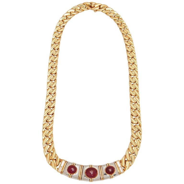 Bulgari Ruby Diamond Gold Chain Necklace For Sale