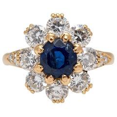 Van Cleef Sapphire Diamond Cluster Ring