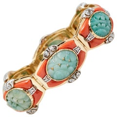 Jade Coral Diamond Bracelet